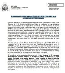 Nota Informativa FEGA Derechos Definitivos