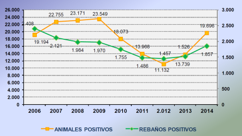 Sin títuloTuberculosis Bovina. Ganado Doméstico. España. EVOLUTION OF THE NATIONAL ERADICATION PROGRAMME ON BOVINE TB 2014 IN SPAIN. MAGRAMA.