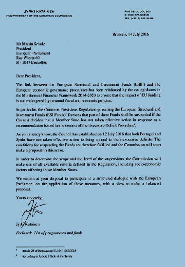 Carta de la Comisión al Parlamento Europeo
