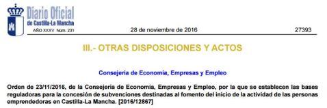 Orden bases reguladoras emprendedores CLM