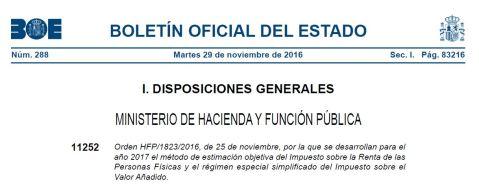 Orden HFP/1823/2016 Módulos