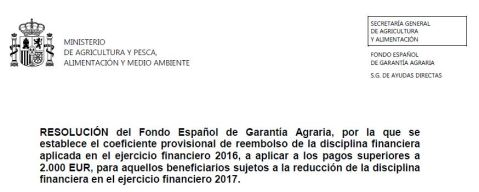 Resolución FEGA reembolso disciplina financiera 2017