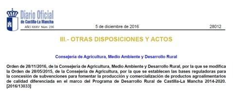 Castilla-La Mancha productos agroalimentarios de calidad diferenciada