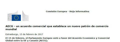 Parlamento Europeo aprueba el CETA