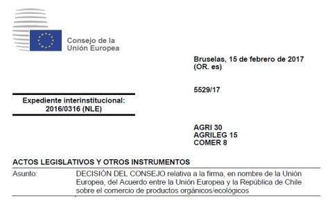 Acuerdo UE Chile Productos Ecológicos
