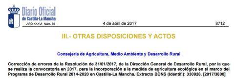 Ayudas a la agricultura ecológica Castilla-La Mancha