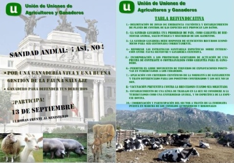 Sanidad Animal tuberculosis bovina Cartel y Tabla Reivindicativa